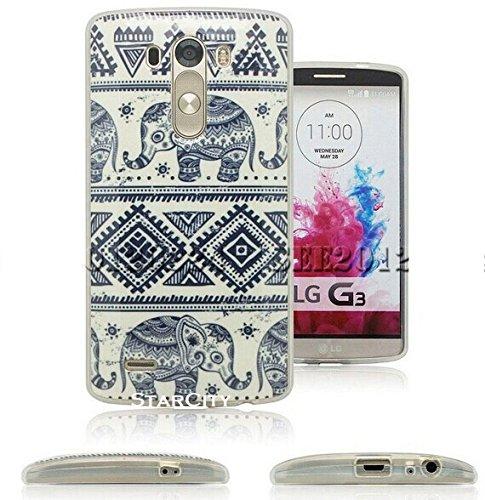 LG G3 Case, StarCity ® LG G3 Case [Elephant Pattern] Flexible TPU Case Skin Gel [Shock Absorbent] Protective Cover Case (for LG G3 Verizon, AT&T Sprint, T-mobile, Unlocked) (Elephant)