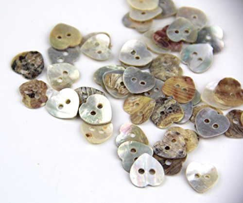 RayLineDo Pack of 12mm 2 Holes Heart Shaped Mother of Pearl Delicate Natural Shell Buttons Sewing Crafting Scrapbooking Buttons Approx 100pcs