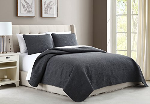 Light Charcoal - Cozy Bedding Aidee 2pc Coverlet Set Twin/Twin XL Size Bed Lightweight Thermal Pressing Leafage | Charcoal Grey