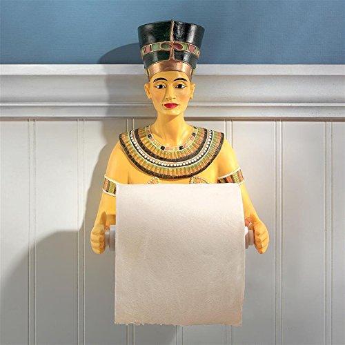 CDM product Design Toscano Queen Nefertiti Holder Egyptian Decor-Toilet Paper Roll-Bathroom Wall Décor, Multicolor big image