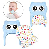 Vantic Baby Teething Mittens, Removable Toddler Mitten Teether Mtitt, Cute Raccoon Teether Gloves, Ideal for 3-12 Month Infants Teething Pain Relief and Scratches Protection, 2 Packs (Blue)
