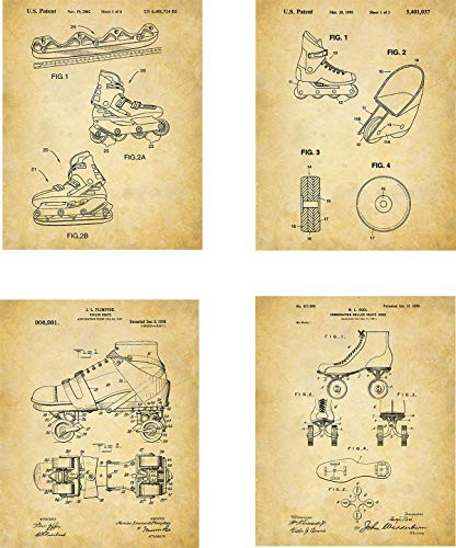 Roller Skates Patent Wall Art Prints - set of Four (8x10) Unframed - wall art decor for roller stakers (Roller Skating Poster)