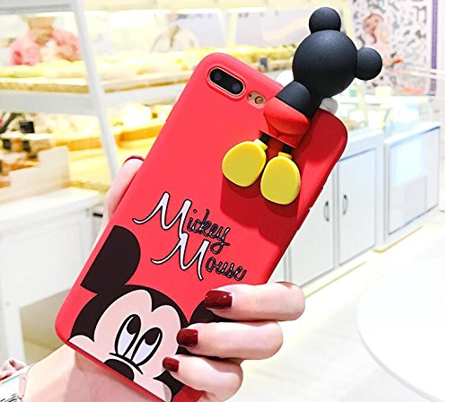 Red Mickey Mouse Doll Case iPhone 7+ 7Plus 8+ 8Plus Large Size 5.5 Screen Soft TPU Gel 3D Cartoon Slim Shockproof Protective Cool Fun Lovely Cute Fashion Hot Gift Girls Teens Kids Boys