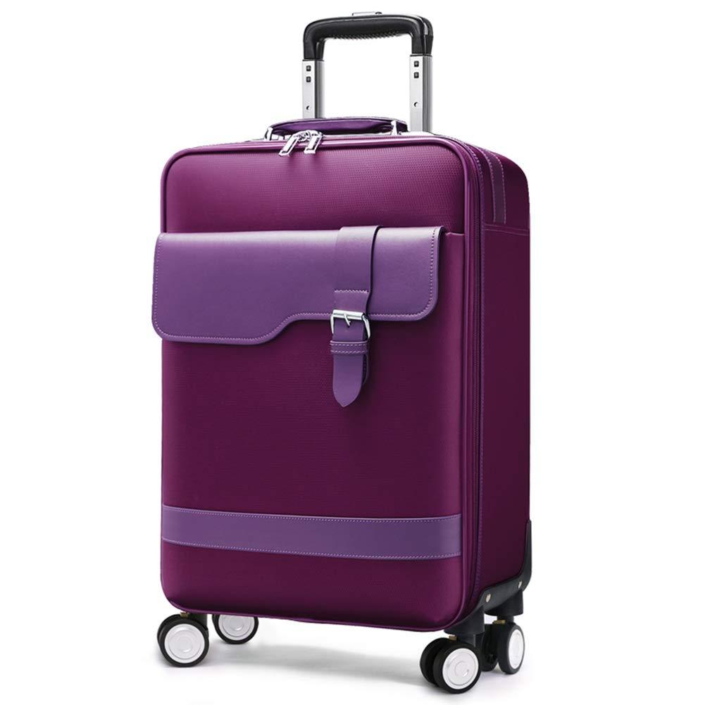 トロリースーツケースキャビンハンド荷物を運ぶ旅行キャビンハンド荷物ラップトップバッグエグゼクティブビジネスバッグトロリースーツケースを持ち歩く旅行オックスフォードクロスユニバーサルホイール男性女性 GAOFENG (色 : Purple, サイズ さいず : 20 inches) 20 inches Purple B07P7P8LQ2