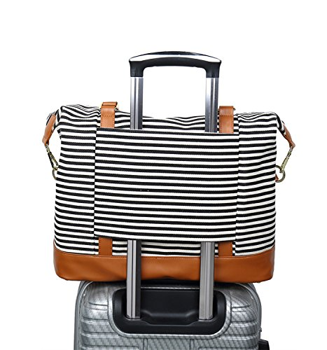 CAMTOP Women Ladies Travel Bag Canvas Weekend Overnight Carry On Luggage Bags(Black Stripe)