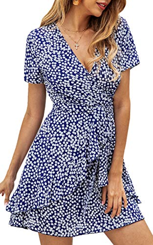 ECOWISH Women's V Neck Polka Dot Ruffles Mini Sexy Dress Short Sleeve Wrap Summer Dresses with Belt Blue Small