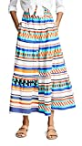 MDS Stripes Womens Tiered Button Front Prairie Skirt