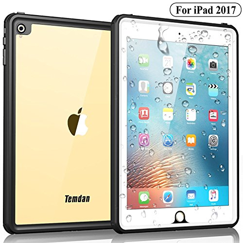 Temdan iPad 2017 Waterproof Case Rugged Sleek Transparent Cover with Built in Screen Protector Waterproof Case for Apple iPad 2017 9.7 inch (White)