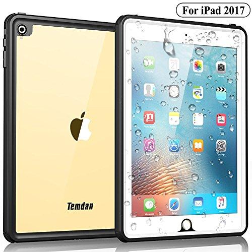 Temdan iPad 2017 Waterproof Case Rugged Sleek Transparent Cover with Built in Screen Protector Waterproof Case for Apple iPad 2017 9.7 inch (White)