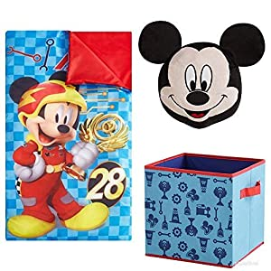 Mickey Mouse Kids Disney 3pc Sleeping Bag and Pillow Set