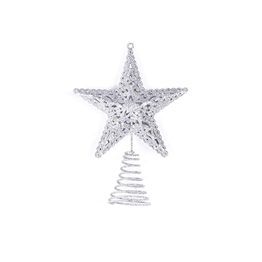 Eliky Star Snowflake Christmas Tree Topper Xmas Decor Treetop Table Decor Ornaments (Gold Snowflake)