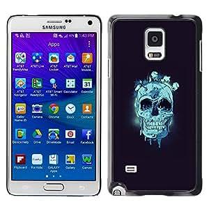 EJOY---Cubierta de la caja de protección la piel dura para el ** Samsung Galaxy Note 4 ** --Cráneo azul