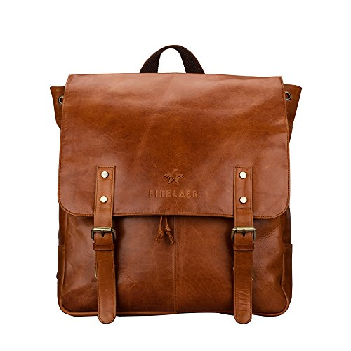 Finelaer Vintage Rich Brown Laptop Backpack Daypack Rucksack Travel Hiking Bag Men Women by FINELAER