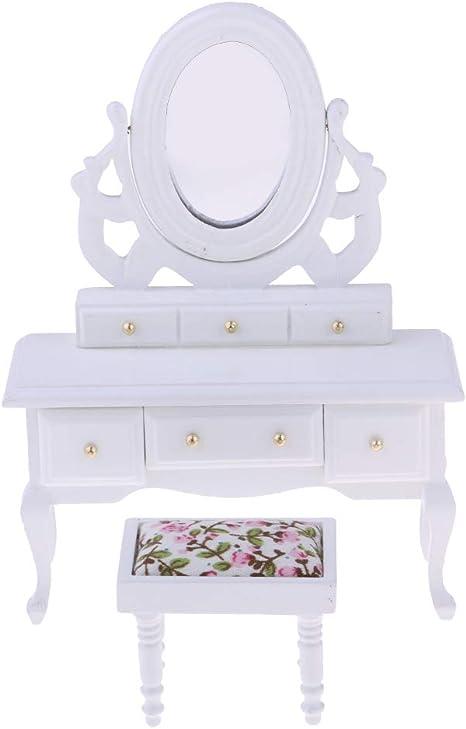 Amazon.es: P Prettyia Miniatura Muebles de Madera Roja Mesa de ...