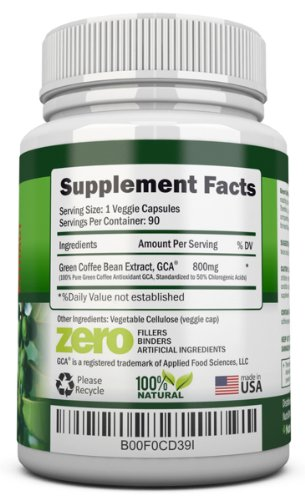 GREEN COFFEE BEAN EXTRACT with GCA, 800mg - 90 Vegetarian Capsules - Best Value For Price! - Highest Quality Pure Natural Coffee Extract for Weight Loss by NutriONN (Image #1)