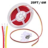 Electrical Wire 3 Conductor 20 Gauge Copper Strand, Ideal Hookup Wire for Dimmable LED Strip (Dual Color,CCT) 3 Pin Wiring Extension, 20 Feet / 6 Meter per Roll With Mounting Clip and Screw, Indoor