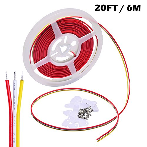 3 Conductor 12 Gauge (Electrical Wire 3 Conductor 20 Gauge Copper Strand, Ideal Hookup Wire for Dimmable LED Strip (Dual Color,CCT) 3 Pin Wiring Extension, 20 Feet / 6 Meter per Roll With Mounting Clip and Screw, Indoor)