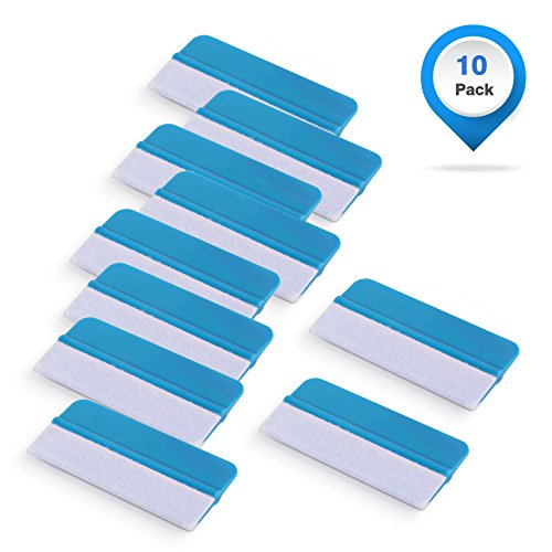 (Gomake 10 Pack Mini Vinyl Wrap Tools Felt Edge Squeegee Scratch Free for Auto Vinyl Wraps Application Tool Tint Film Wallpaper Tool Blue)