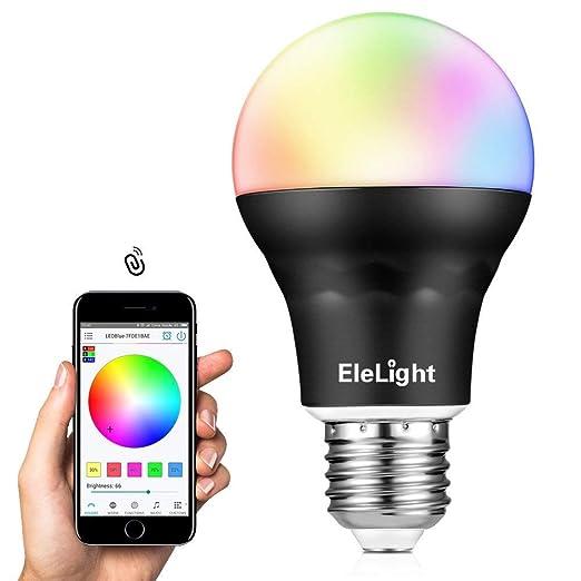 EleLight Bombilla Multicolor Inteligente Impermeable IP25 Bluetooth 4.0 que Cambia la Luz LED RGB