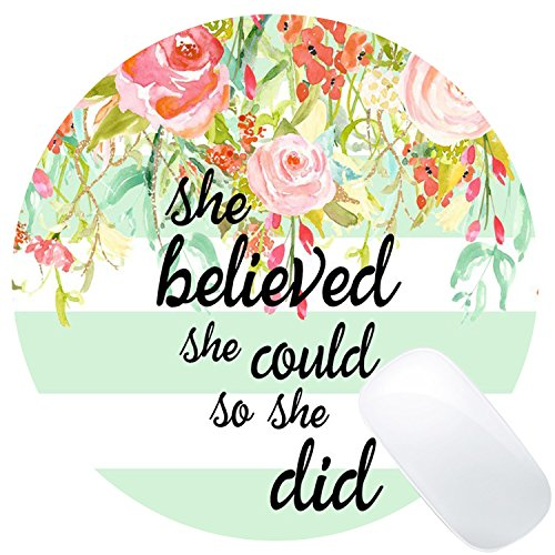 Wknoon Inspirational Quotes Vintage Colored Floral Flowers Stripes Art Round Gaming Mouse Pad Custom, She Believed She Could Bible Verse Scripture Quote Mint Stripes Circular Mouse Pads