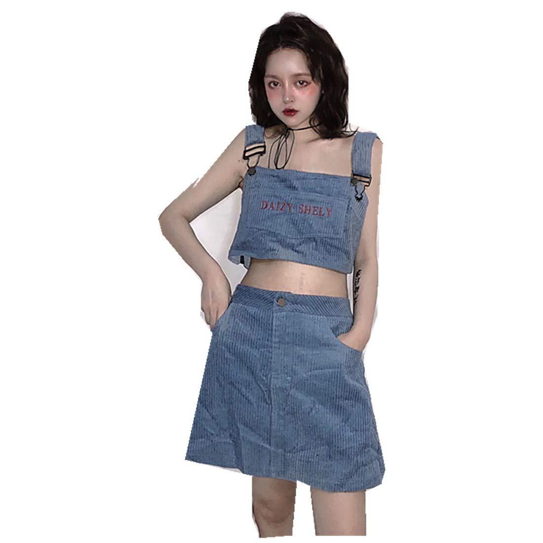 MV Summer Women's Suit Korean Harajuku BF Wind Embroidered Pit Vest + Skirt Suit
