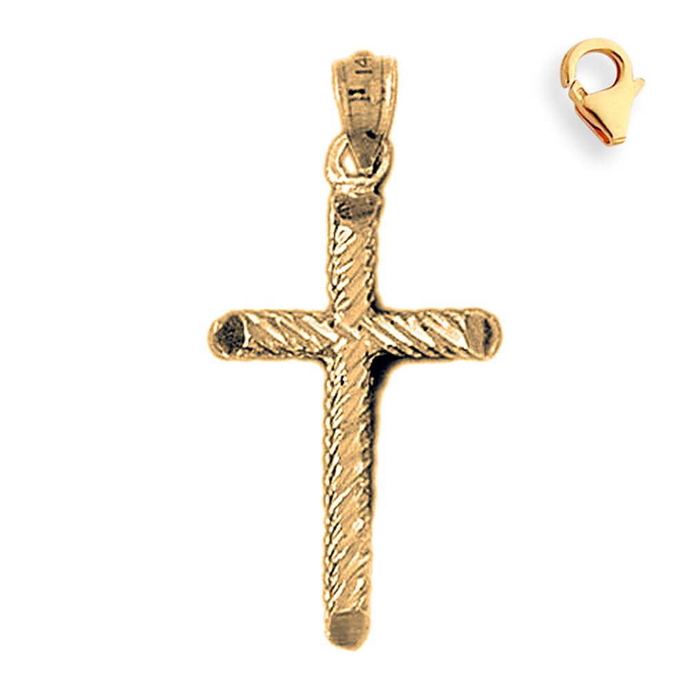 Silver Yellow Plated Cross Charm 35mm