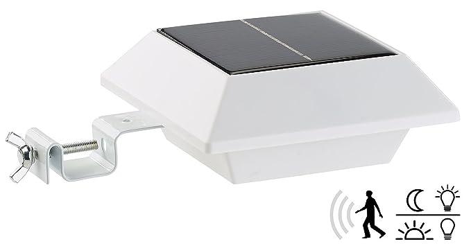 Lunartec – Lámpara LED solar de canalones con sensor PIR, 160 lm, 2 W