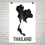 Thailand Map, Map of Thailand, Thailand Print, Thai Wall Art, Thailand Poster, Thai Decor, Thai Art, Thai Gifts, Thailand Map Art Print Poster 12''x18''