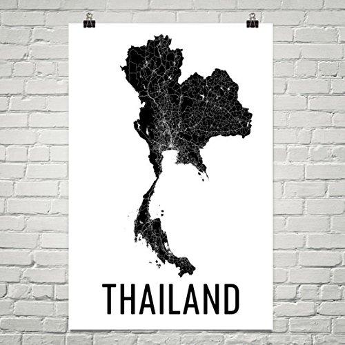 Thailand Map, Map of Thailand, Thailand Print, Thai Wall Art, Thailand Poster, Thai Decor, Thai Art, Thai Gifts, Thailand Map Art Print Poster 12''x18'' by Modern Map Art