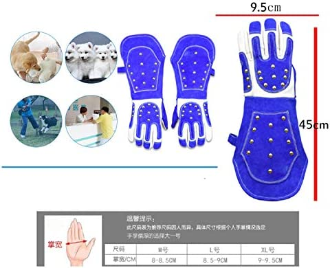 手袋 日常 実用 スクラッチ/バイト耐性保護手袋-入浴、毛づくろい、猫や他の小動物を扱うための動物取り扱い手袋、18インチ (Color : Blue, Size : XL)