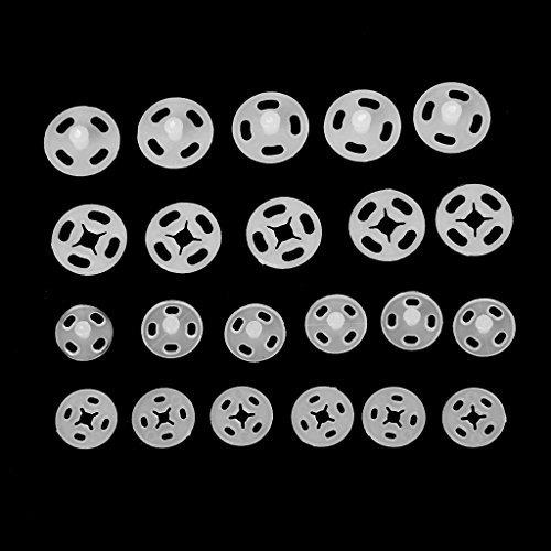 Plastique Boutons pression à coudre 10mm 14mm Lot de 36Ensembles Blanc Dasuke