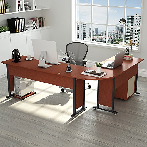 83quot Tribesigns Modern LShaped Desk with Return and Mobile File Cabinet Corner Computer Desk Study Table Reversible Super Sturdy Workstation for Home Office Wood amp Metal with Drawers Cherry