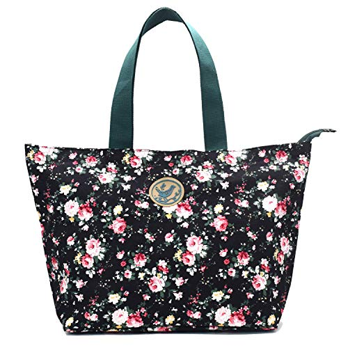 Micoop Floral Waterproof Large Tote Bag Shoulder Bag with Zipper Closer for Shopping Beach Travel (Black) (Floral Beach Bag)