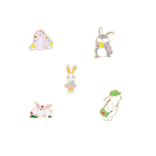 75b1b5a1 5pcs/set Hard enamel pins Rabbit pin Bunny pin Cartoon animal cute ...