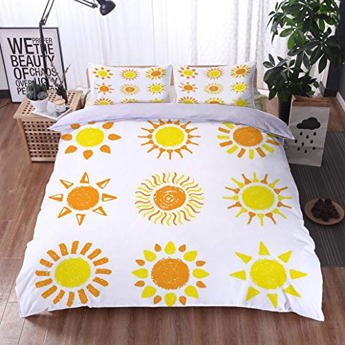 Hand Bed Painted Set (HOOMORE Bed Comforter - 3-Piece Duvet -All Season, Hand Drawn Sun Set Painted with Pastel Crayons,HypoallergenicDuvet-MachineWashable -Twin-Full-Queen-King-Home-Hotel -School)