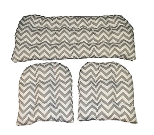(3 Piece Wicker Cushion Set - Gray / Grey and White Chevron Indoor / Outdoor Fabric Cushion for Wicker Loveseat Settee & 2 Matching Chair Cushions)