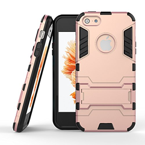 iPhone SE Case, SAUS [Robot-Bear] Rugged Holster Dual Layer Protective iPhone 5SE Hybird Armor Case [Shock Absorption] with Kick-Stand Feature for Apple iPhone SE / iPhone 5S (Rose Gold) (Cute Z Cute Robot compare prices)