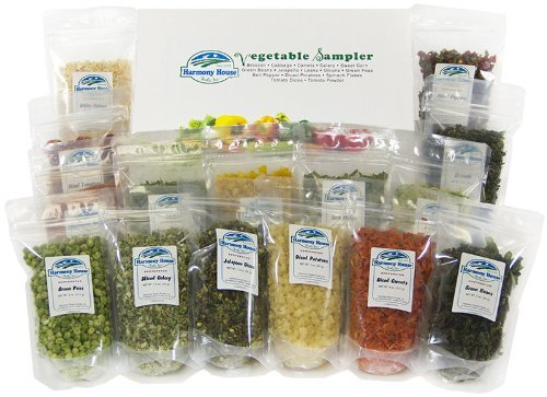 Harmony House Foods Dried Vegetable Sampler (15 Count, ZIP Pouches) - Set of 2