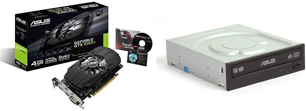 Asus GeForce GTX 1050 Ti 4GB Phoenix Fan Edition DVI-D HDMI DP 1.4 Gaming Graphics Card (PH-GTX1050TI-4G) Graphic Cards & 24x DVD-RW Serial-ATA Internal OEM Optical Drive DRW-24B1ST Black