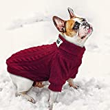 #4: Didog Dog Classic Sweaters, Soft Warm Puppy Knitwear, 2 Legs Dogs Turtleneck Sweaters for Small Medium Dogs and Cats, Red, L Size