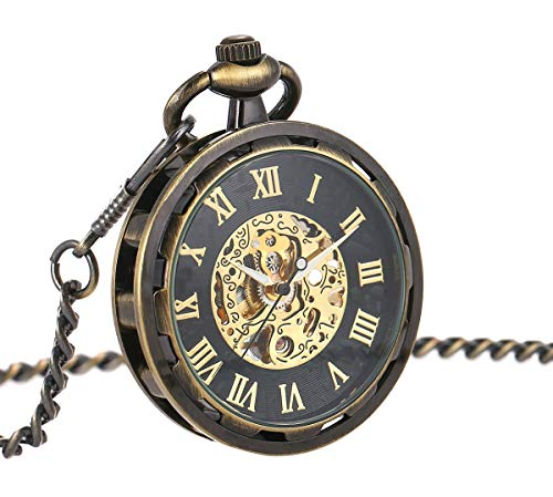 ManChDa Mens Steampunk Transparent Open Face Pocket Watch Black Skeleton Dial Bronze Case with Chain + Gift Box ()