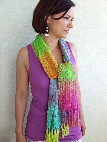 Confetti rainbow multicolor hand dyed hand woven organic cotton scarf women scarf lace scarf summer fringed scarves hand dyed cotton