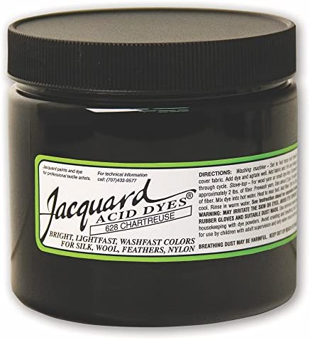 Jacquard Acid Dye for Wool Silk and Other Protein Fibers 8 Ounce Jar Concentrated Powder Chartreuse 628