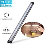 Under Cabinet Light, Elfeland 24 LED Touch Tap Closet Lights 3 Levels Dimmable Touch Sensor Connectable Under Cabinet Lighting LED Push Light for Wardrobe Cupboard Desk Lamp Kitchen Study Dormitory