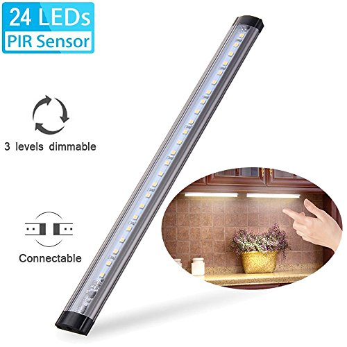 - Under Cabinet Light, Elfeland 24 LED Touch Tap Closet Lights 3 Levels Dimmable Touch Sensor Connectable Under Cabinet Lighting LED Push Light for Wardrobe Cupboard Desk Lamp Kitchen Study Dormitory