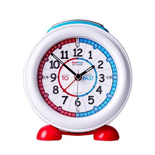 EasyRead time teacher Reloj Despertador Infantil luz Nocturna y Esfera roja y Azul Que Indica la Hora en Inglés utilizando Las locuciones