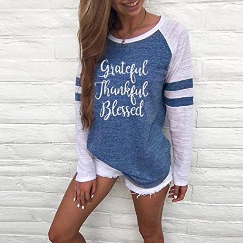 Shirt Patchwork T MRULIC Muttertag Geschenk Size Thanksgiving Plus B Langarm Zum Tops Bluse Blau Damen CS7q1w