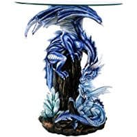 Beautiful Large Blue Dragon Guardian Protecting Young Accent Table 28 Inch Glass Top