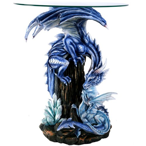 - Pacific Giftware Beautiful Large Blue Dragon Guardian Protecting Young Accent Table 28 Inch Glass Top