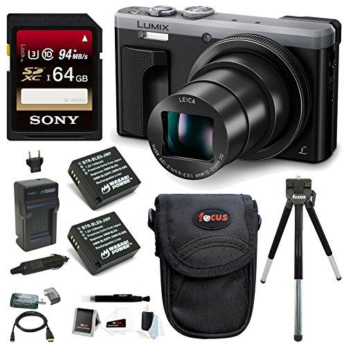 Panasonic Lumix DMC-ZS60 4K Digital Camera (Silver) w/64GB SD Card & Battery Pack Bundle For Sale